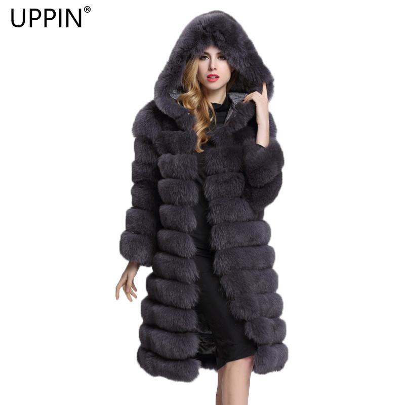 size 40 68614 7a288 UPPIN Cappotto in pelliccia sintetica da donna con cappuccio manica lunga  inverno moda spessa caldo cappotto di pelliccia naturale tuta sportiva ...