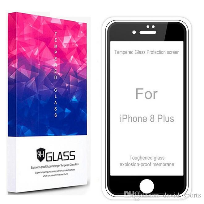 De calidad superior 4D 5D 9H Pantalla completa Protector de cristal templado Dureza Anti-Scratch Film Protectors para iPhone X 8 7 6 6 S Plus con paquete