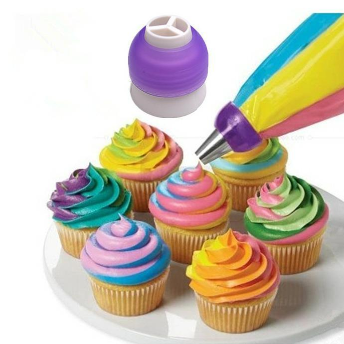 3 Color Icing Piping Bag Nozzle Converter Tri-color Cream Coupler Cake Decorating Tools For Cupcake Fondant Cookie