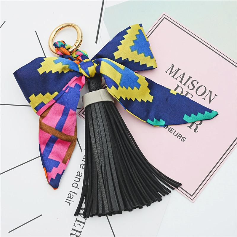 Trendy Accessories Bowknot Key chain Fashion Satin Silk Bowknot PU leather Tassel Key chain Key ring For Women Bags Decoration