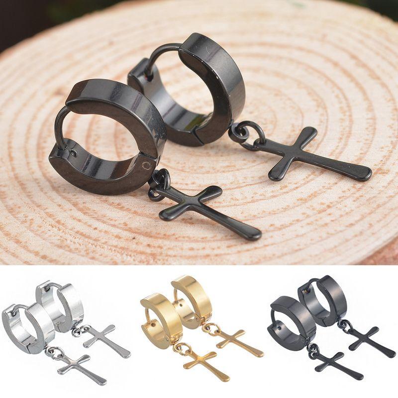 دائرة جولة الصليب أقراط للرجال الفولاذ المقاوم للصدأ قلادة وأقراط الشرير الصخرة نمط الرجال الرجال الأقراط والمجوهرات