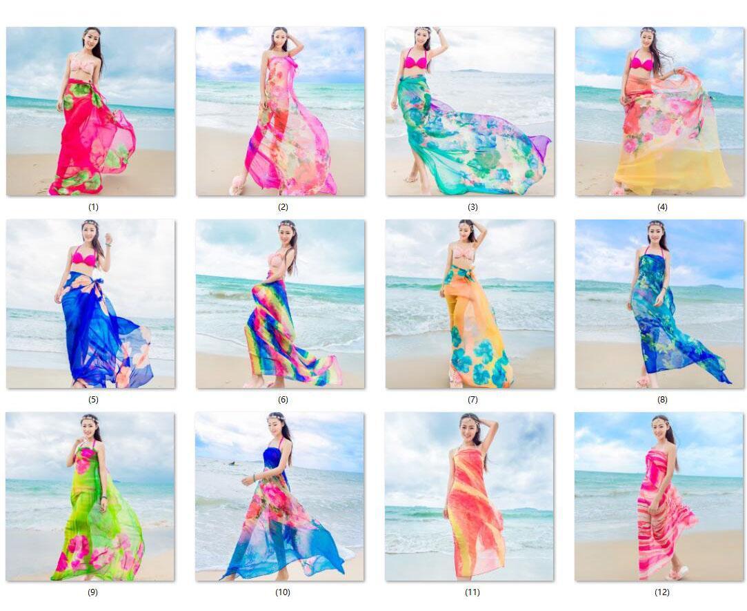 Apparel Accessories Careful 2019 Summer Print Silk Scarf Chiffon Scarf Women Pareo Beach Cover Up Wrap Sarong Sunscreen Girls Ladies Casual Scarf Female