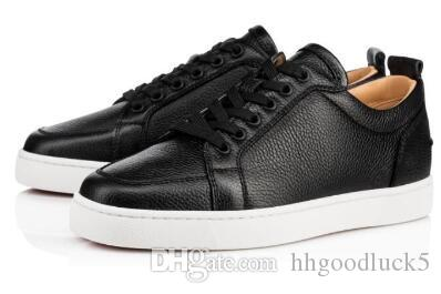 c4896eb0bc8d Luxury Design Rantulow Sneakers Flat Black White Grained Leather Lowtop  Casual Classic Men