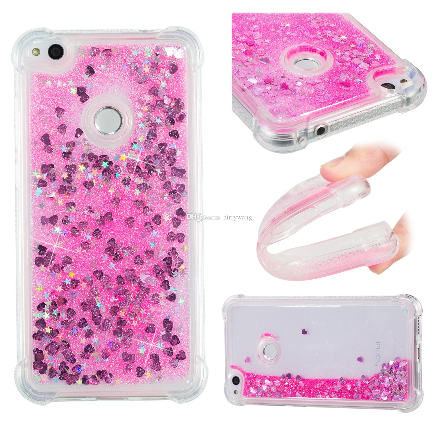 Heart Star Liquid Glitter Quicksand Floating Flowing Phone Case for Huawei P8 Lite 2017, P10 Lite, Moto E4, Moto G5S