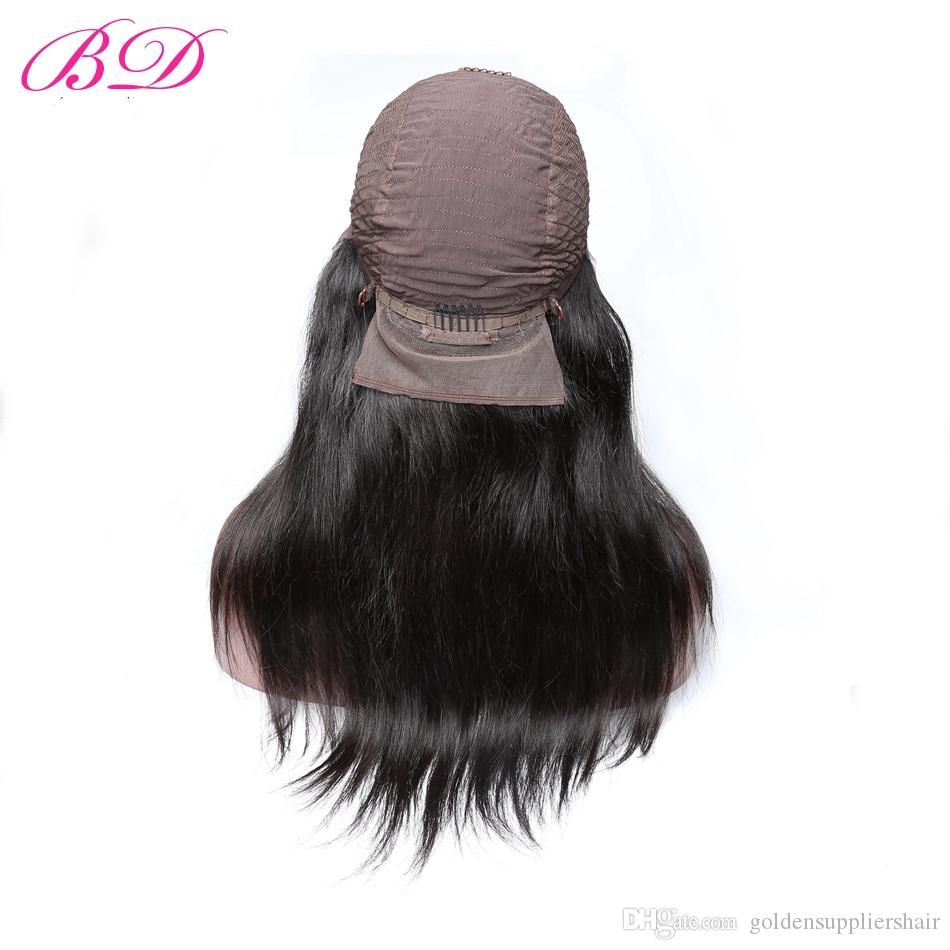 BD Human Hair Lace Front Wigs Silky Malaysian Straight Hair Textures Natural Color Full Head Deals