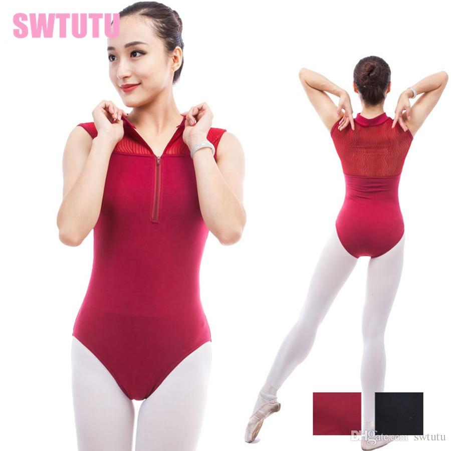 593a5618807b 2019 Black Spider Mesh Inset Zip Front Gymnastics Dance Leotards For Girls  CS0304 Adult High Neck Training Ballet Dance Gymnastic Costume From Swtutu,  ...