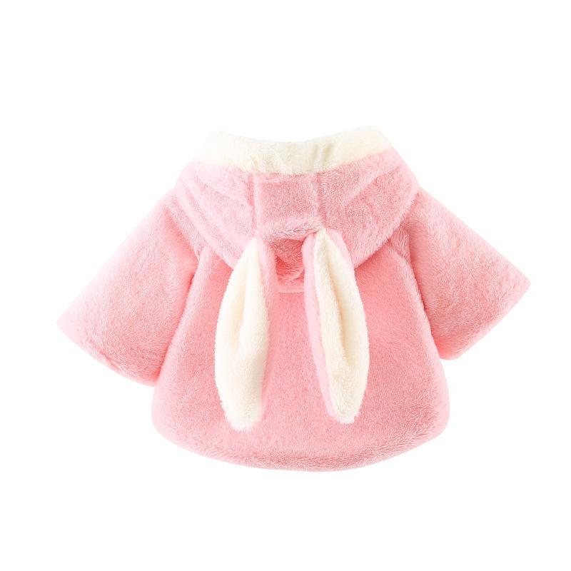 107c3552e Autumn Winter Baby Girl Infant Cherry Bow Rabbit Ear Hooded Faux Fur ...
