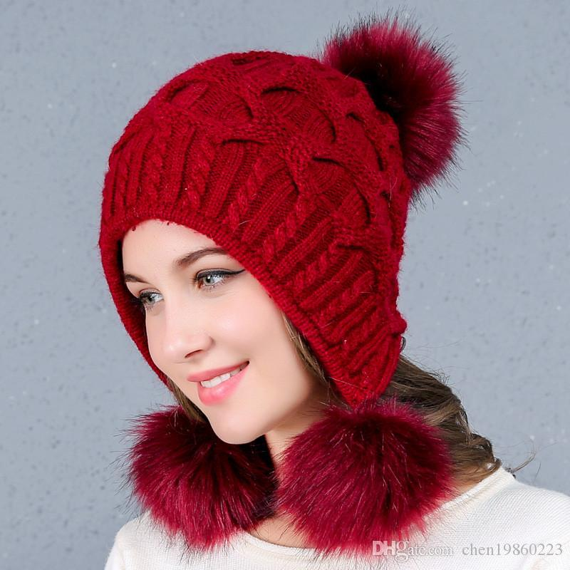New Ladies Autumn And Winter Wool Hats Three Hair Ball Back Open Knit Hat  Double Thick Rabbit Fur Hat Black Baseball Cap Knitted Hats From  Chen19860223 b046392105b