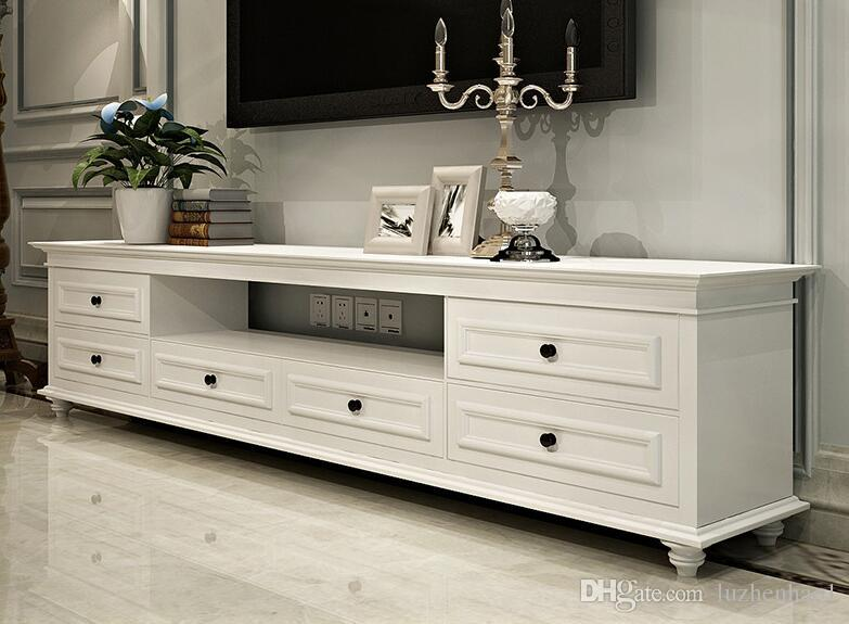American Solid Wood Tv Cabinet White Bedroom