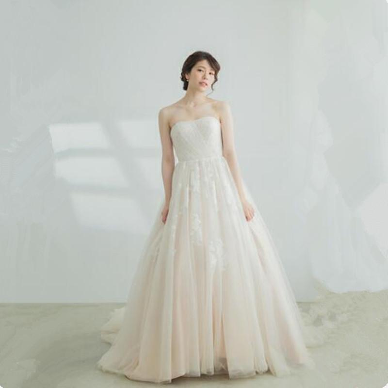 Cheap Wedding Dress 2018 Lace Appliques Tulle Bride Dresses Vestido
