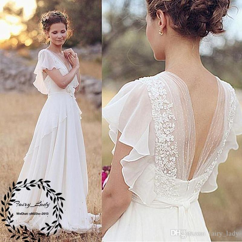 Flowing Chiffon Long Beach Wedding Dresses With Ruffles Capped Sleeves 2018 Lace Appliiques V Neck A Line Bohemia Boho Dress Bridal Gown
