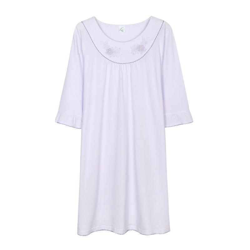 2017 Cotton Nightgowns Women Short Sleeve Home Dress Nightwear Girls ... ce9e6a74f