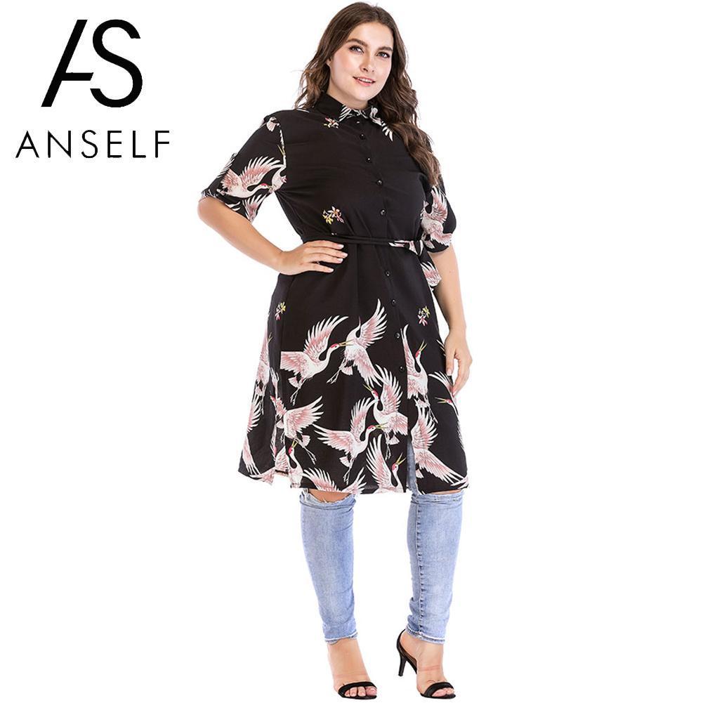 72fa9006704 2019 Women Shirt Dress Bird Print Boho Dress Ladies OL Office Work Wear  Button Casual Loose Oversized Plus Size 3XL 4XL 5XL 6XL From Yyliang