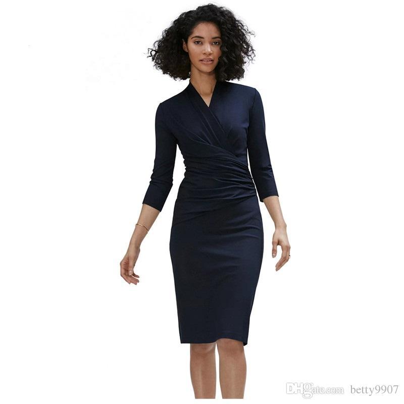 04af773f9 Compre Diseñador Otoño Vestidos OL Oficina Ropa De Mujer Azul Marino Manga  3 4 Plisada Pluma Wrap Trabajo Lápiz Vestidos Vestidos Midi Casual A  26.04  Del ...