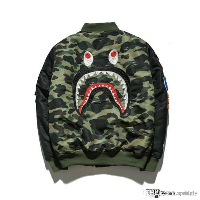 aefb75aaf85b3 2019 2017 New A BATHING A APE ULTIMATE 1ST CAMO LIGHTWEIGHT MA1 BOMBER  JACKET GREEN MENS Bap Shark Head MA1 Army Flight Bomber Coat From  Beautifuly, ...