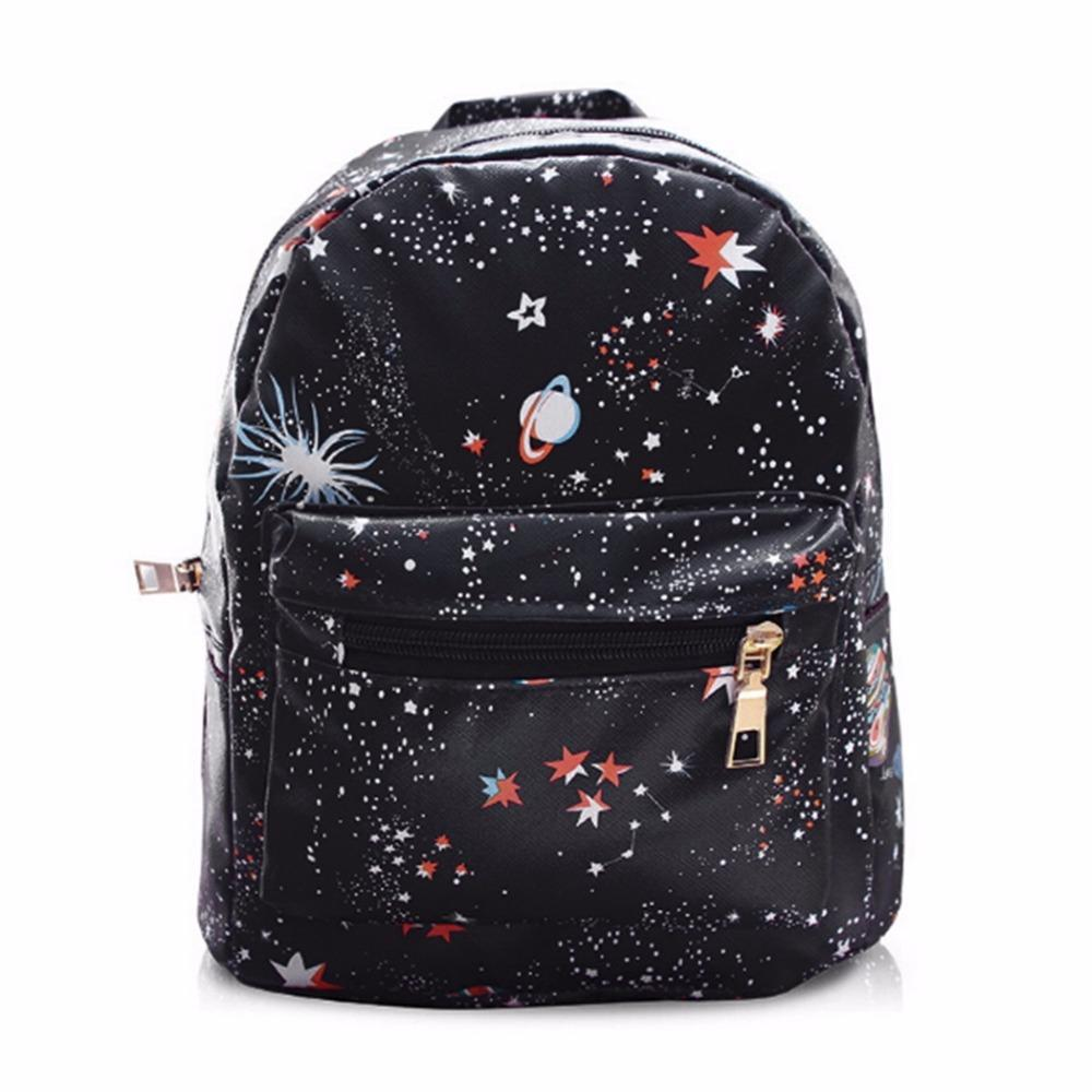 c7e22e773fa Women Synthetic Leather Fashion Star Universe Space Printing Backpack Black School  Bags For Teenage Girls Small Backpack Small Backpack Backpack Brands From  ...