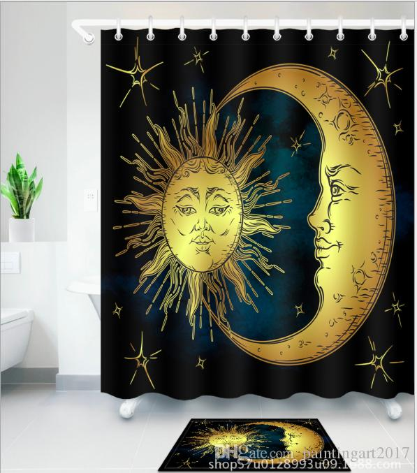 2019 3D Moon And Sun Print Bath Shower Curtains African Girl Modern Style Curtain For Bathroom Decor With 12 Hooks Floor Mats Sets From