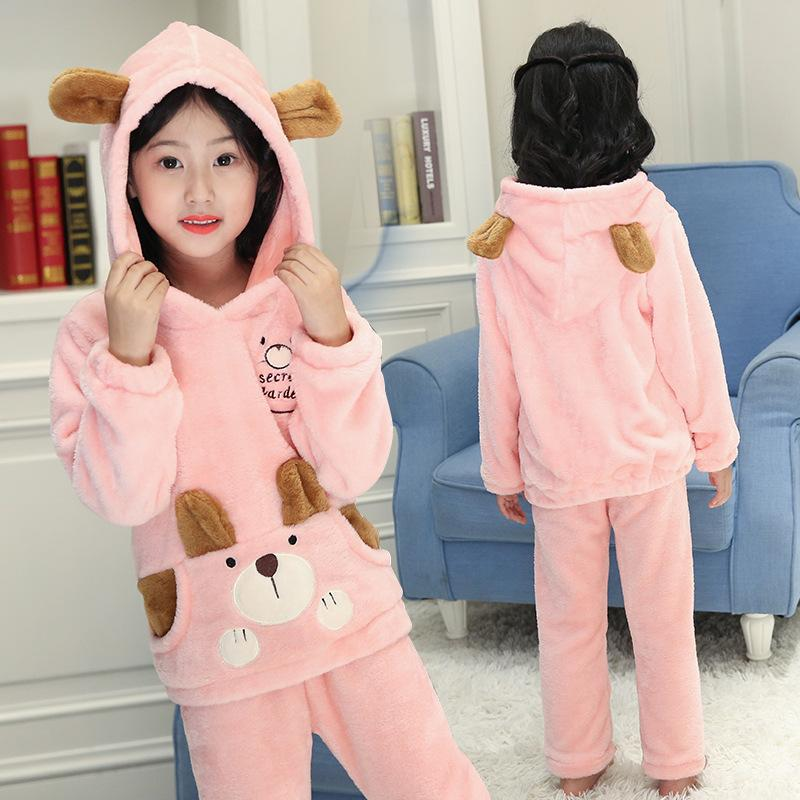 e6b1df00a5f6 Famli Girls Flannel Hooded Pajamas Sets Kids Bear Pyjamas Children Warm  Thick Sleepwear Baby Girl Homewear Nightwear Clothes Girls Summer Pjs Cheap  Kids Pjs ...