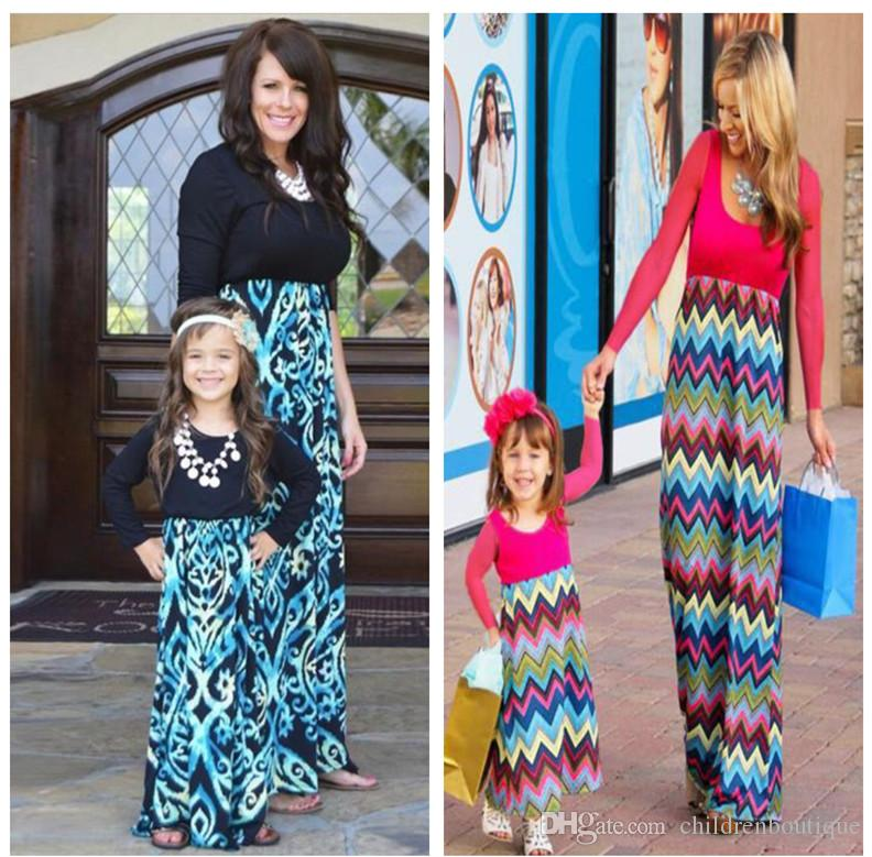 9c153c5883fe1 Mommy And Me Dress Family Matching Clothes Mother And Daughter Dresses  Family Look Kids Parent Children Patchwork Printed Dresses Outfits