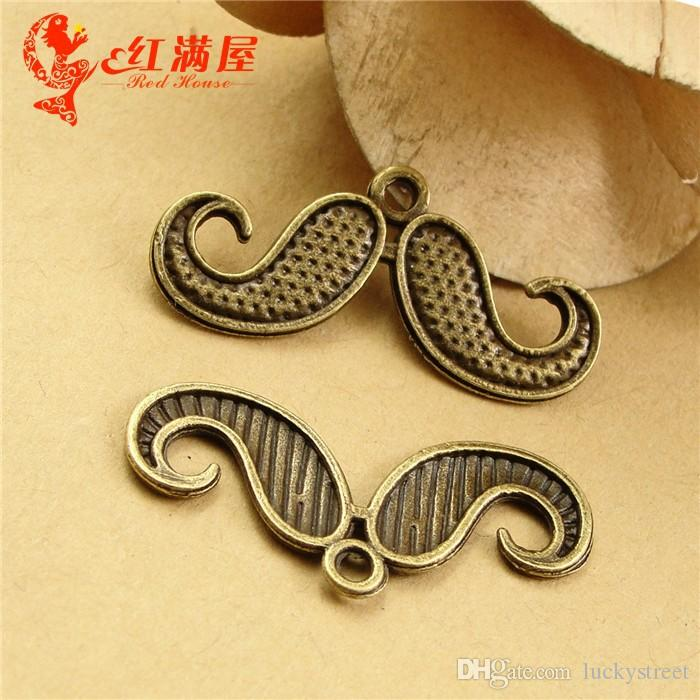 A3476 30*15MM Antique Bronze Retro Affandi beard pendant mobile phone accessories, moustache charm beads, Chinese charms China factory
