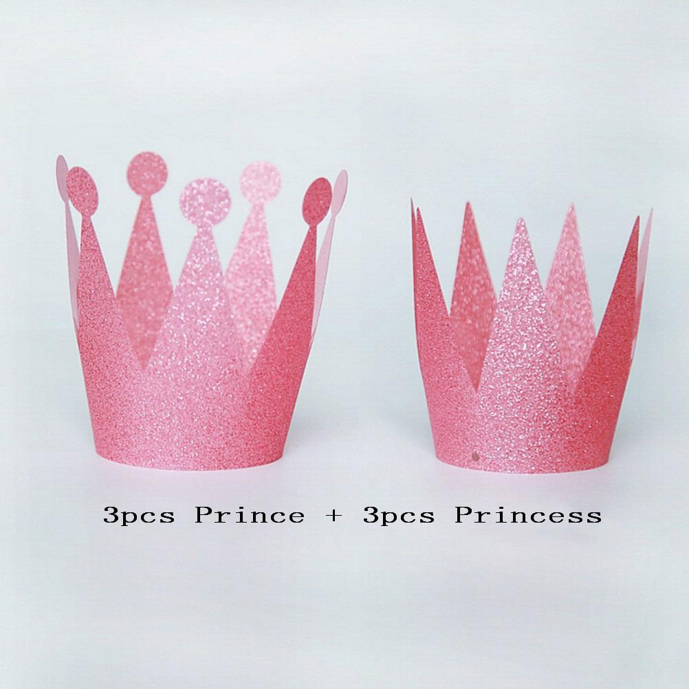 Wholesale Baby Girl Party Hats Birthday Princess Prince Crown Cap Headgear Birthday Party Decor Kids Festive Party Supplies