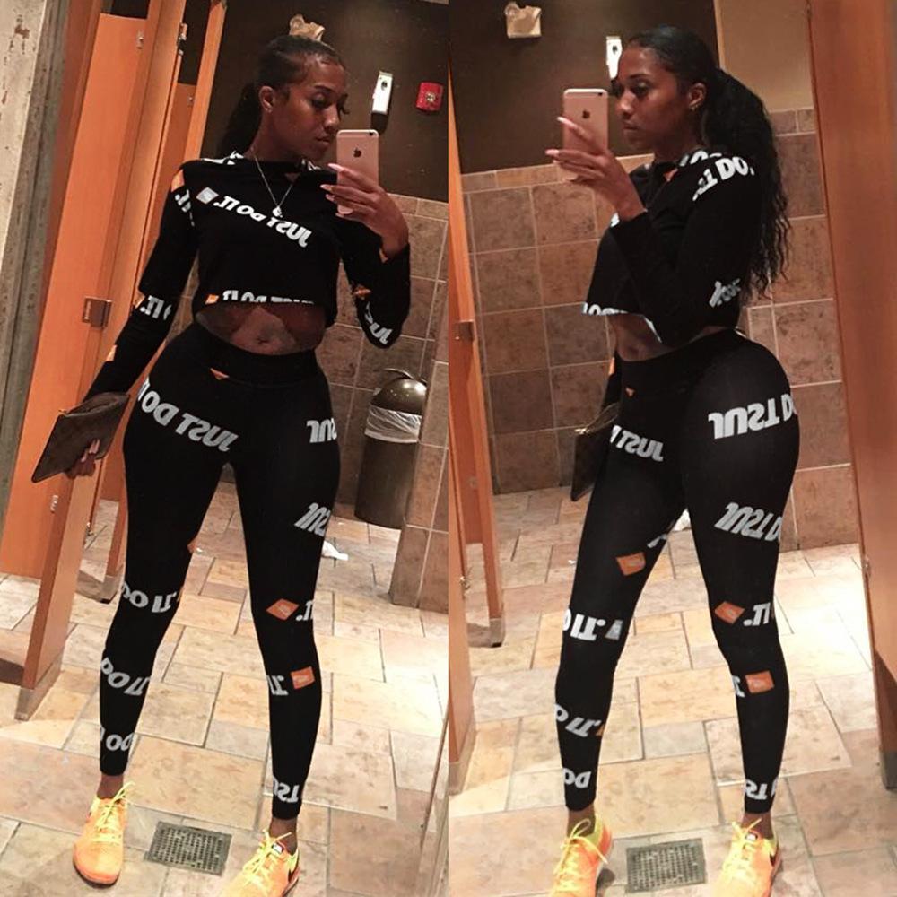 baee826b0 Compre Macacao Feminino Moda Duas Peças Sexy Bodycon Jumpsuit Carta  Impressão Macacão Cor Preta Para As Mulheres AL004 De Kennethy, $30.97 |  Pt.Dhgate.Com