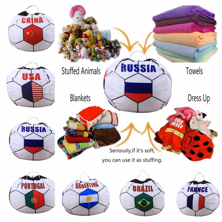 32 design 26 inch storage bean bag Soccer World Cup Animal Toys Storage Bean Bag Stuffed Plush Toy Organizer Chair for Kids LJJK1000
