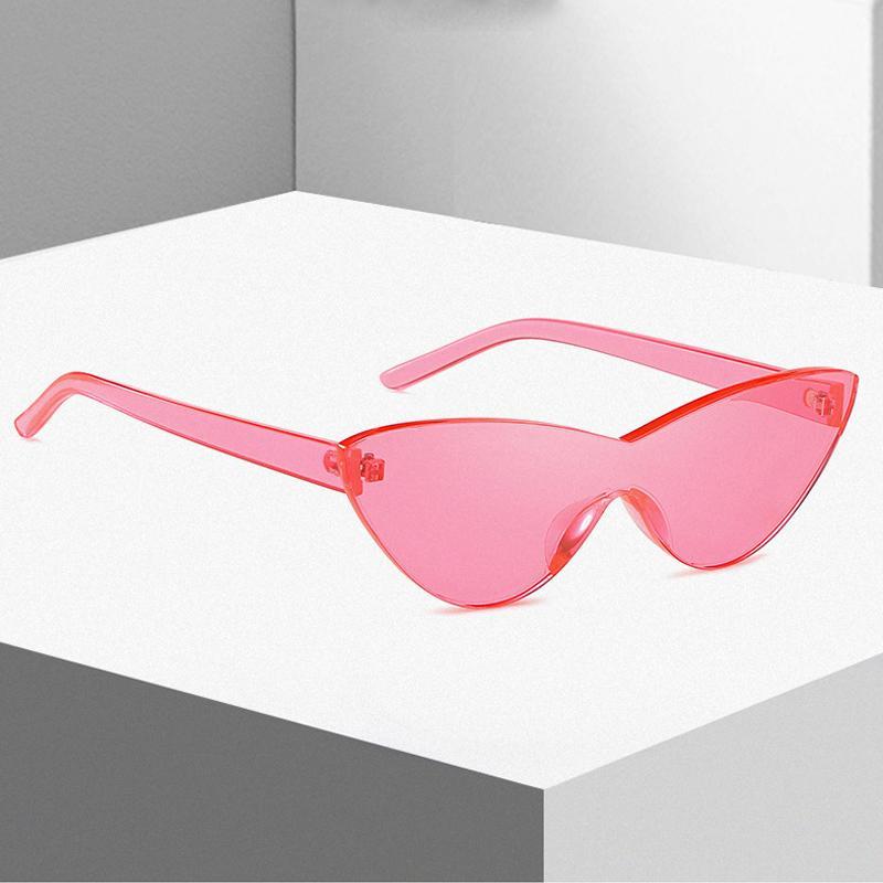 4577631758 Cat Eye Sunglasses Women Fashion Candy Colors Sun Glasses One Piece Lens  Pink Red Glasses Brand Designer Ladies Eyewear UV400 Round Sunglasses Cheap  ...