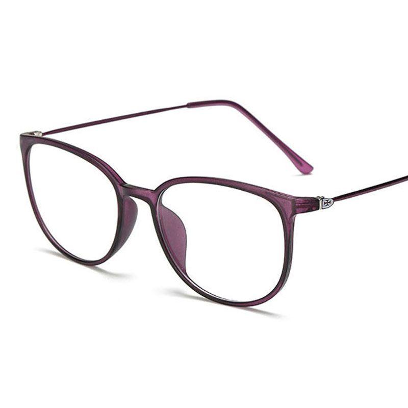 2729d3f79bd97 Compre Peso Leve Oversize Óptica Óculos De Armação Mulheres Transparente Lente  Grande Óculos TR90 Óculos De Metal Do Vintage Óculos Negros Oculos De ...