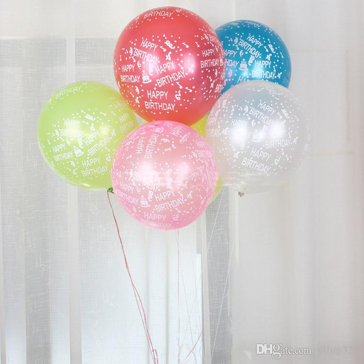 Happy Birthday Printing Latex Balloons 12inch Round Colorful Air Balloon Children Kids Party Decoration