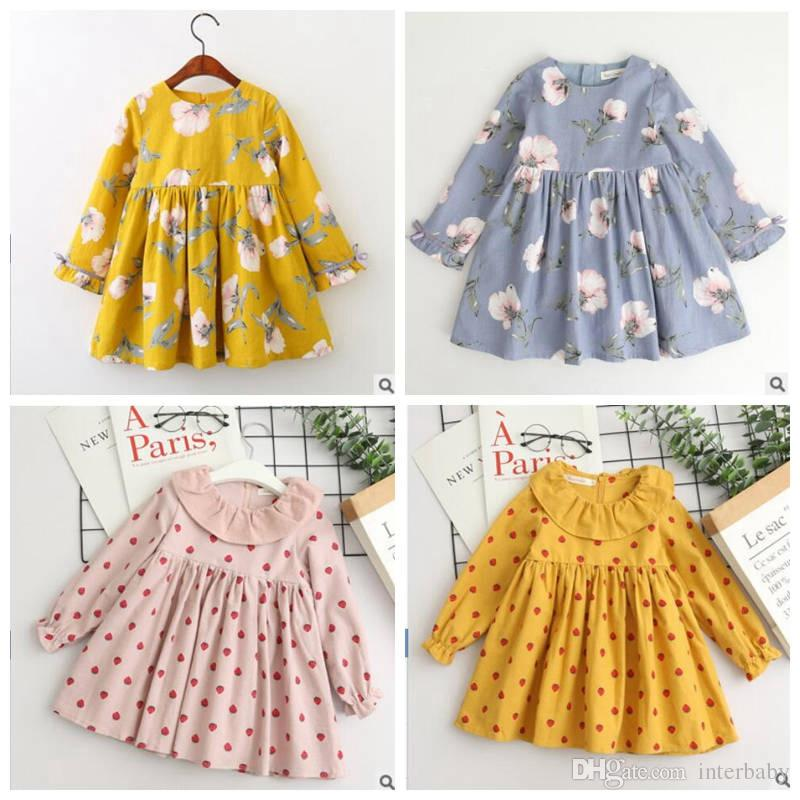 2019 Girls Dresses Kids Designer Clothes Girls Full Print Flower Bowknot Dress  Long Sleeve Princess Dress Fashion Baby Clothing YL628 From Interbaby 7f0fde630413