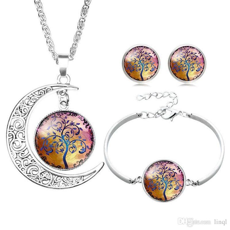 Hollow Carved Moon Elf Peter Pan Life Tree Time Gem gemstone Necklace earring bracelet pendant Girl Dreamlike jewelry set KKA1587