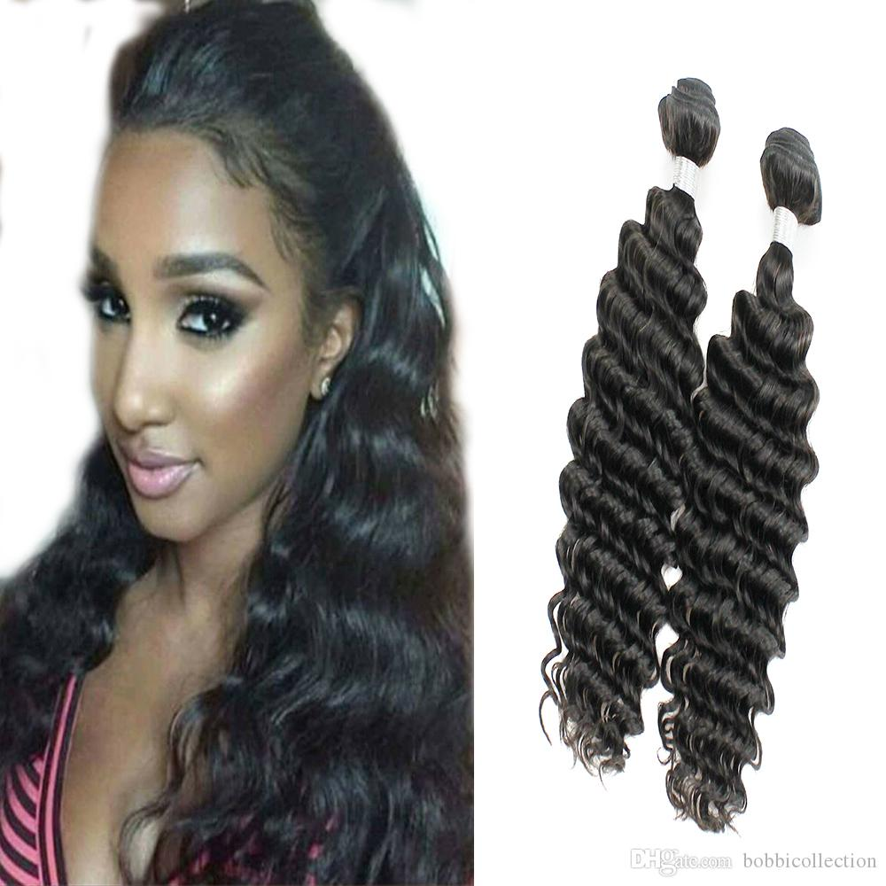 Human Hair Weaves Lower Price with Machine Double Weft Deep Wave 100% Peruvian Human Remy Hair Bundles 4 Bundles In One Pack #1b Color Soft Hair No Shedding Hair Extensions & Wigs