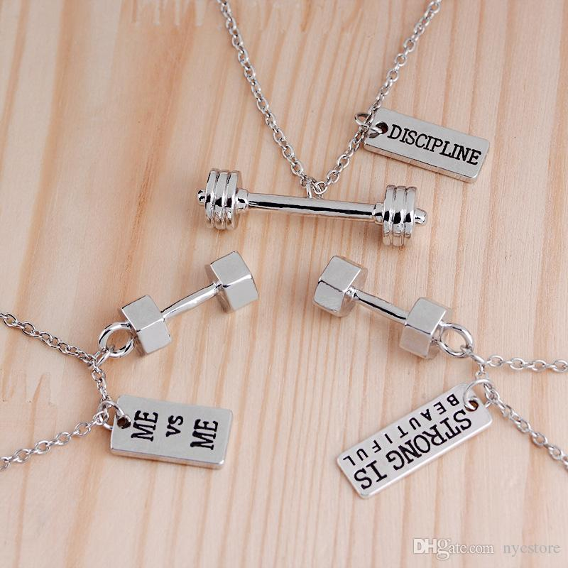 zinc alloy bodybuilding sports fitness dumbbells necklace barbell lovers charm pendant