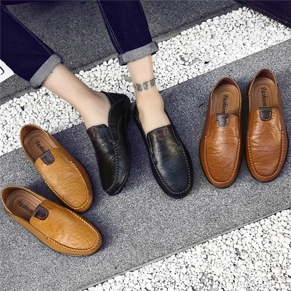 Men s Casual Driving Shoes Leather Business Casual Shoes Loafers ... 817d6d16887