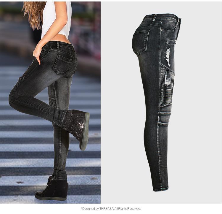 31b40c0c6b2 2019 New Arrival Moto   Biker Style Black Denim Pencil Pants Plus Size Mid  High Waist Woman Front Zipper Bleached Ripped Pleated Skinny Jeans 3XL From  ...