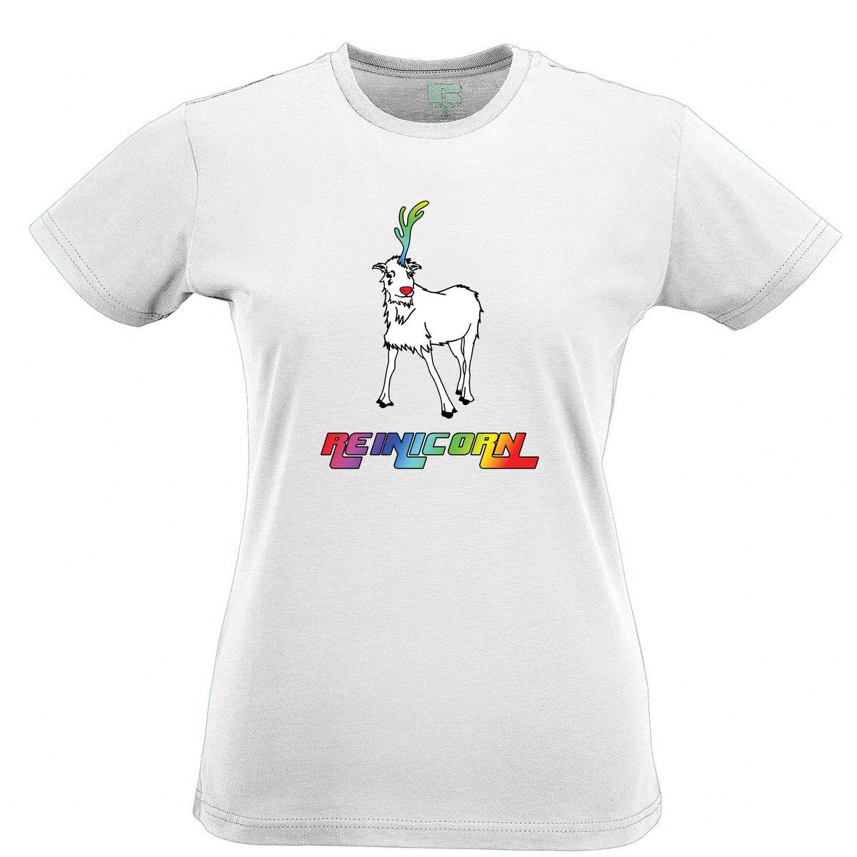 0de2ae5e3d Reinicorn Reindeer Rainbow Unicorn Printed Slogan Quote Design Womens  T-Shirt Novelty Cool Tops Men Short Sleeve free shipping