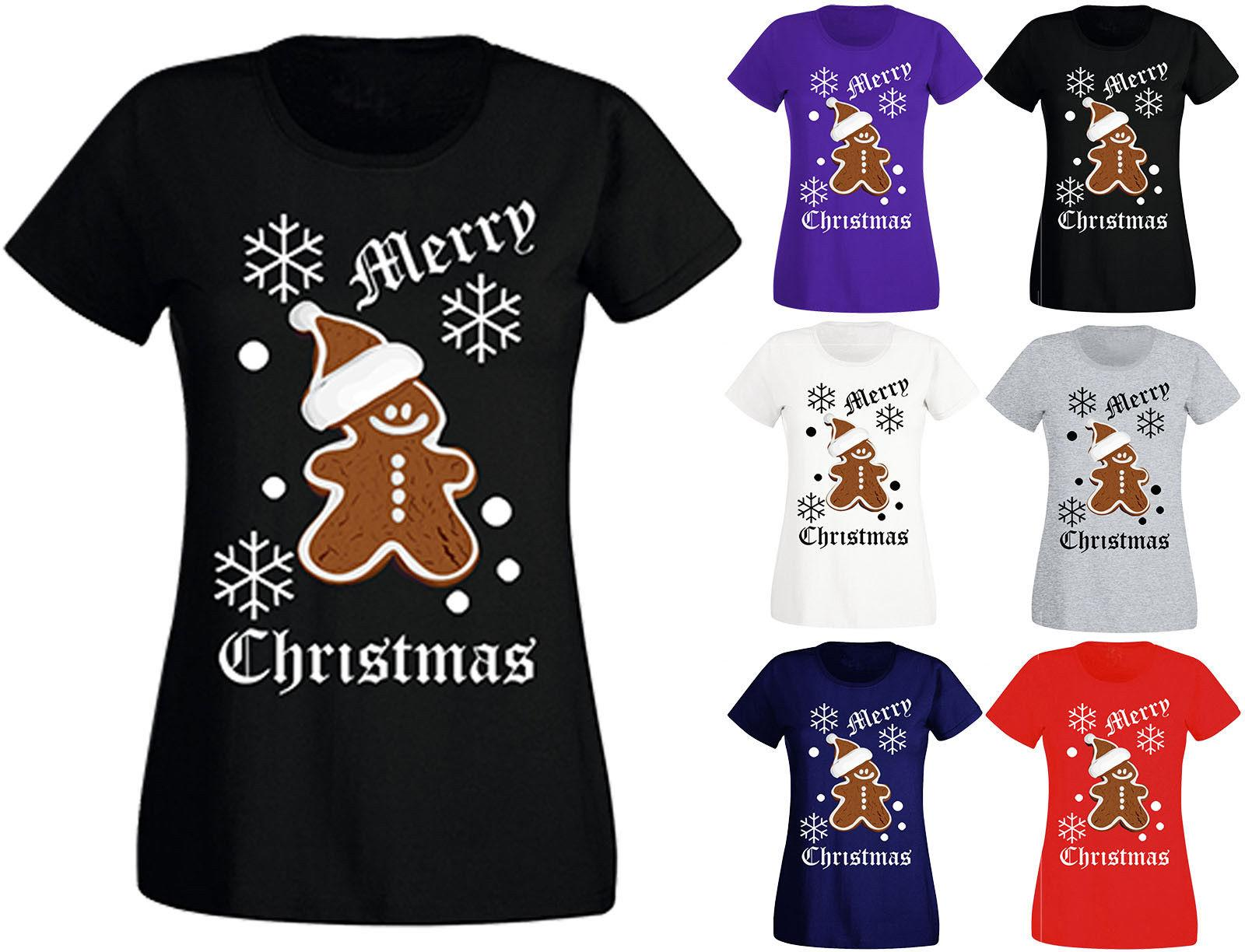 a94cefb0 New Womens Ladies Merry Christmas Gingerbread Man Festive Xmas T Shirt Top  6 18 Funny Unisex Casual Tee Gift Buy Tshirts The Who T Shirts From  Tshirtsinc, ...