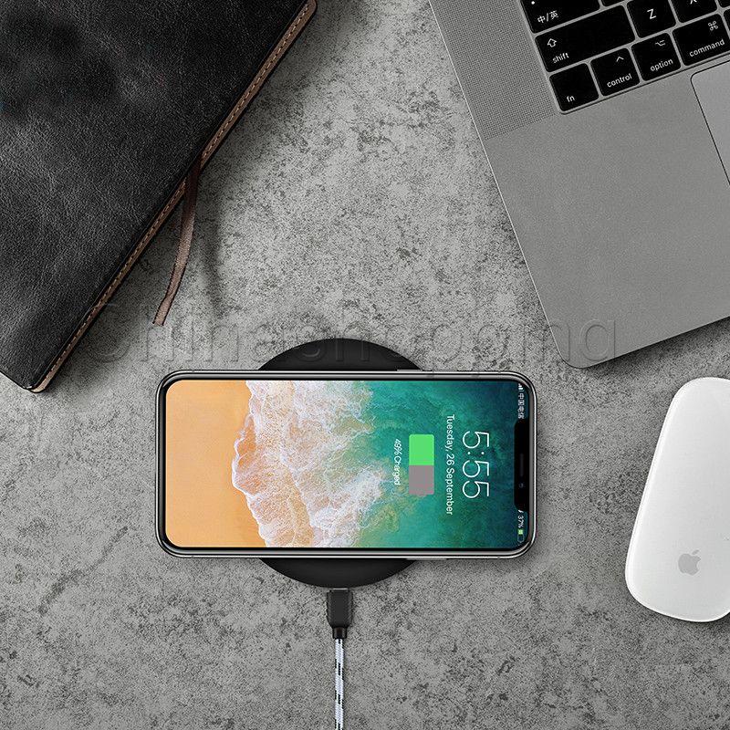 Fast Qi شاحن لاسلكي لـ iPhone X 8 Plus Samsung S8 S9 Plus Note 8 5V 2A 9V 1.67A شاحن سريع مع حزمة البيع بالتجزئة