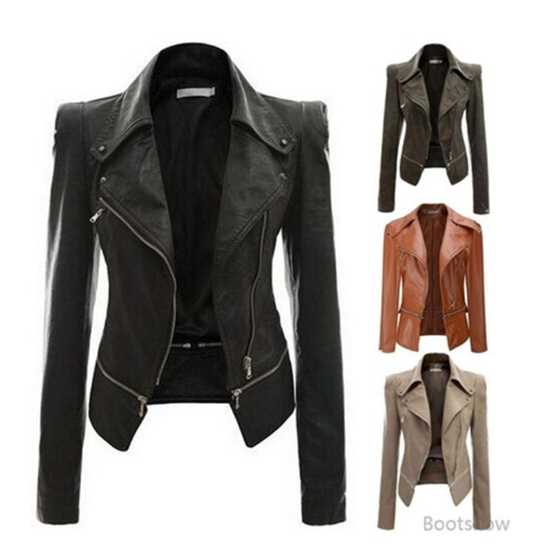 f820fd7ee9f3a 2018 Autumn Women Faux Leather Jacket Slim Fit Motorcycle Jacket Zipper  Casual Leather Coat Outerwear Women Clothing Size S-4XL Women Leather Jacket  Womens ...