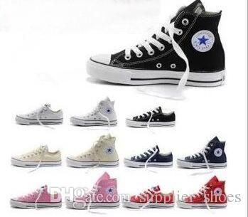 2018 Nuevo Size35-46 Low High top zapatos casuales estilo deportes estrellas mandril Zapatillas clásicas del zapato de lona conve Men Women Canvas Shoes retail