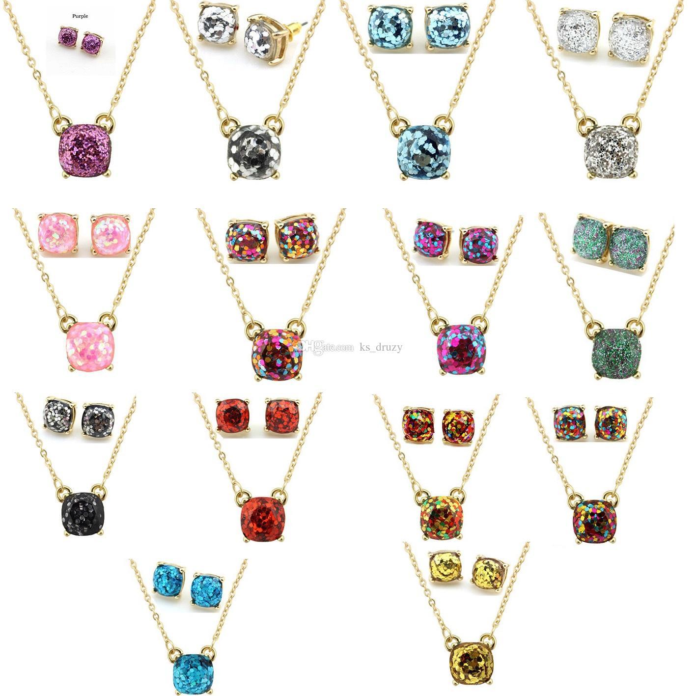 Großhandel 14 Farben Kate Square Galaxy Glitter Gold Halskette ...