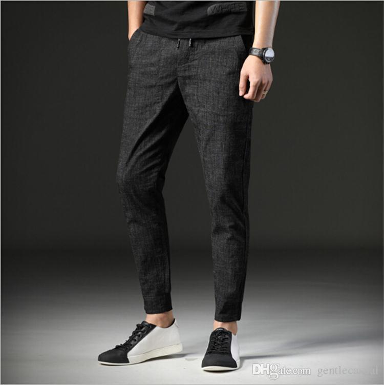 476770b49c9 2019 Mens Capris Autumn Casual Harem Pants Elastic Waist Slim Fit Fashion Capris  Pants Pencil Pants Blue High Quality From Gentlecasual