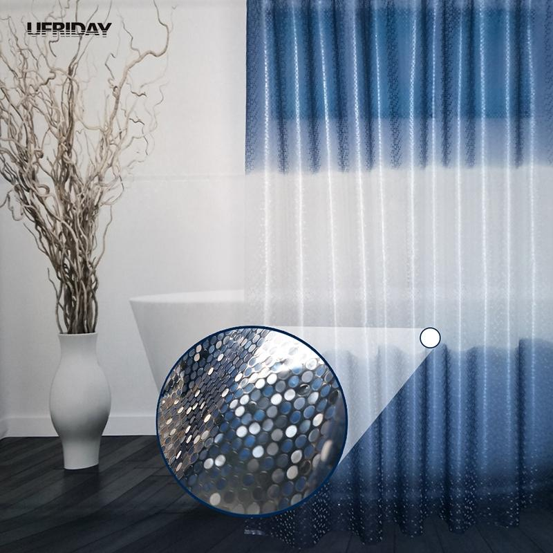 2018 UFRIDAY Luxury PEVA Shower Curtain Bling 3D Circles Gradient Blue For Bathroom 180180cm Waterproof Bath Curtains From Starch