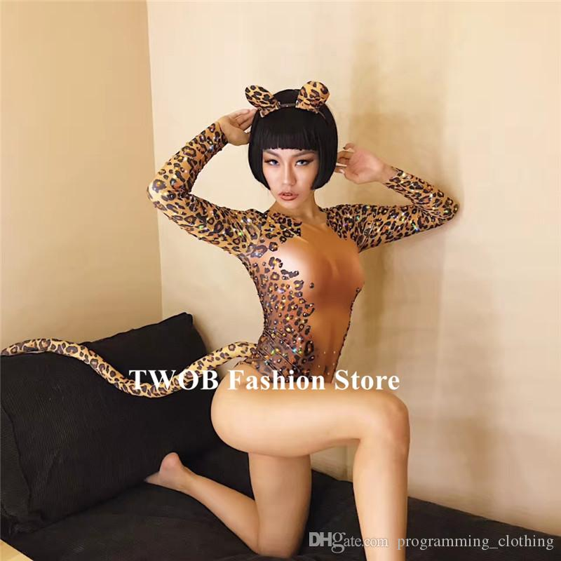 9113c5d3548bf 2019 S47 Ballroom Cat Costumes Stage Show Jumpsuit Leopard Print Bodysuit  Singer Performance Outfit Dj Disco Dress Party Bar Clothe Performance From  ...