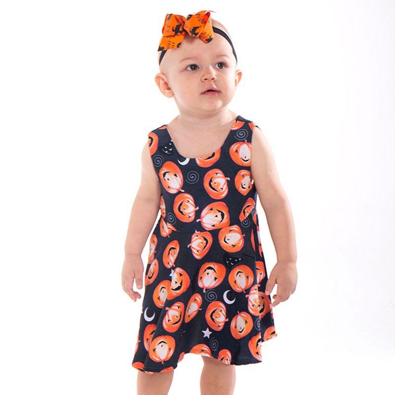 e0ce487ab518 2019 2018 Halloween Baby Clothing Girl Dress Princess Costume Cartoon Girls  Clothes Kids Party Dress Children Clothing Pumpkin Pattern Baby Dress From  ...