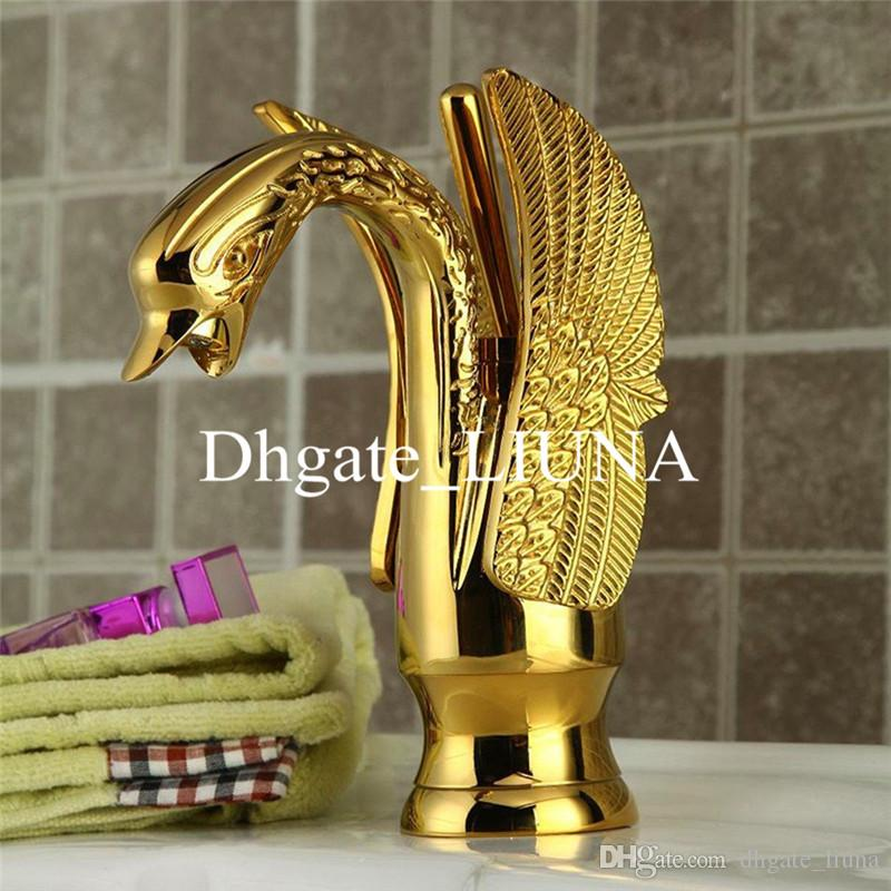 Gold Swan Basin Tap Ti-pvd Brass Ceramic Faucet Plate Spool Holder Deck Mounted Single Handle Ceramic Copper Basin Faucets