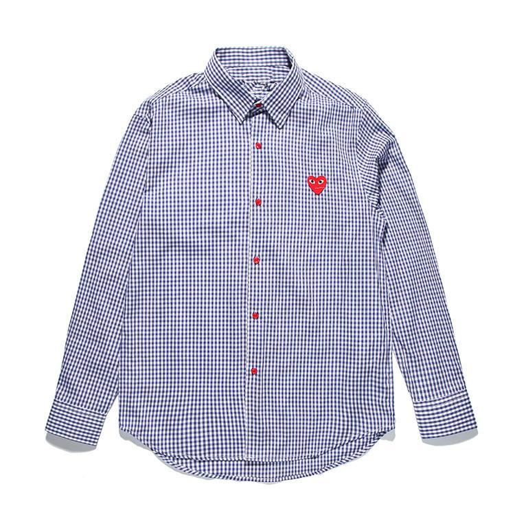 50e622d610114 2019 Mens Designer Jackets CDG PLAY Japanese Heart Emoji Shirt COMMES Men  Women DES GARCONS Cotton Striped Plaid Long Sleeved Vetements Shirt From ...
