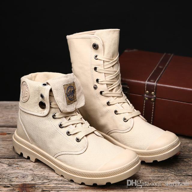 9373bd36f6a Compre Otoño Invierno Hombre Botas De Lona Ejército Combate Estilo Moda  Alto Top Botines Militares Zapatos De Hombre Zapatillas Cómodas Q 170 A  $42.22 Del ...