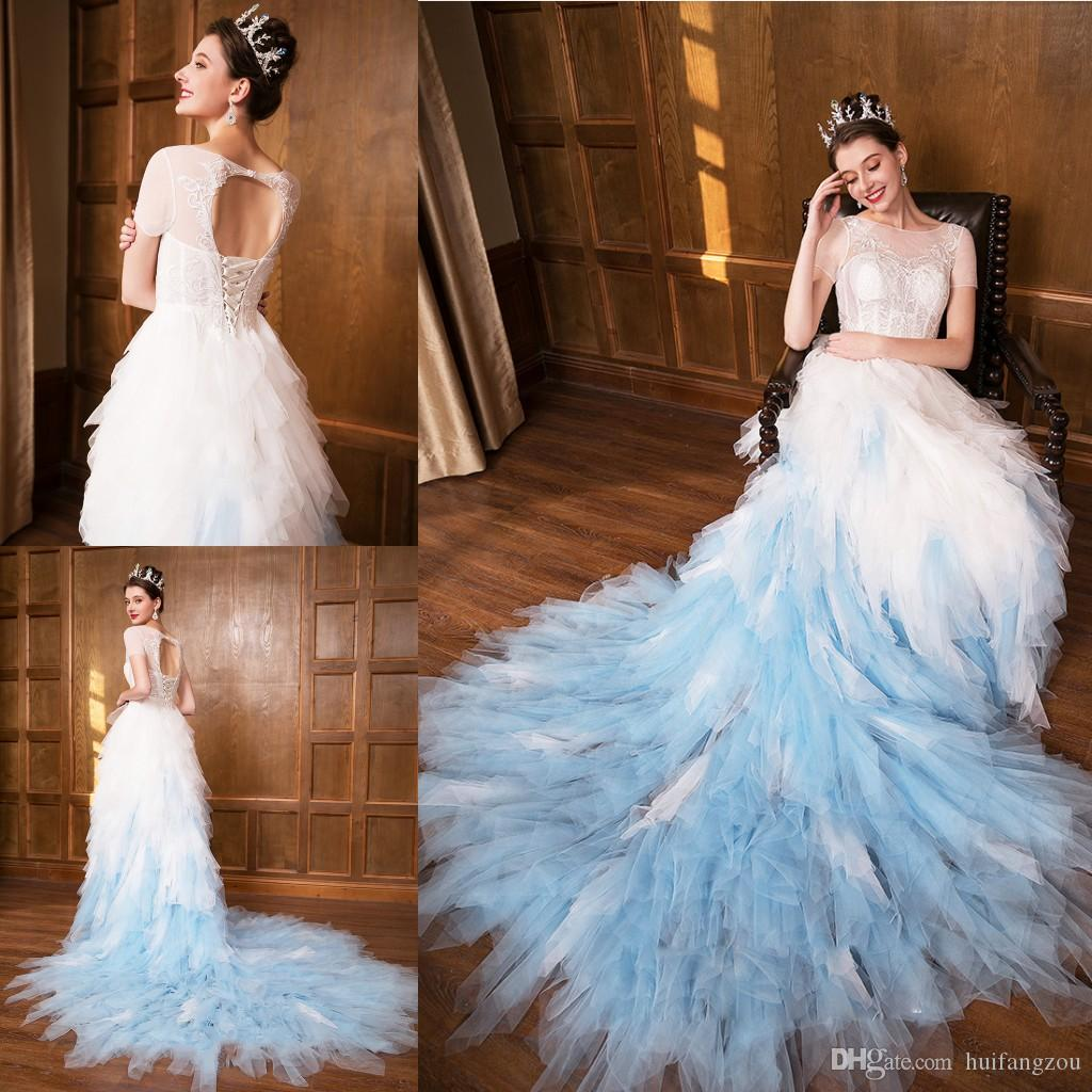 2018 Fashion Gradient Color Wedding Dress Sheer Jewel Neck Illusion ... 863d8c470449